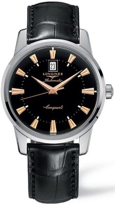 @longineswatches Conquest Heritage Mens #bezel-fixed #bracelet-strap-alligator #buckle-type-tang-type-buckle #case-depth-10-5mm #case-material-steel #case-width-40mm #date-yes #delivery-timescale-1-2-weeks #dial-colour-black #gender-mens #l16454524 #limited-code #luxury #movement-automatic #official-stockist-for-longines-watches #packaging-longines-watch-packaging #sku-lng-659 #subcat-conquest #supplier-model-no-l1-645-4-52-4 #warranty-longines-official-2-year-guarantee #water-... Gents Watches, Cool Watches, Stylish Watches, Fancy Watches, Vintage Watches, Fossil, Swiss Army Watches, Automatic Watches For Men, Gold Hands