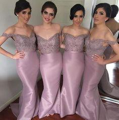 Off shoulder bridesmaid dresses, long bridesmaid dresses, Mermaid bridesmaid…