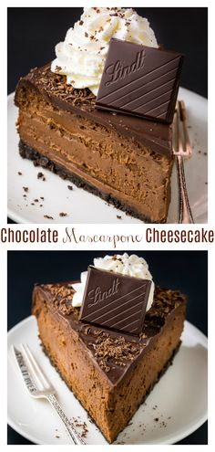 foodporn dessert Rich and creamy Chocolate Mascarpone Cheesecake! This decadent chocolate cheesecake features a chocolate cookie crust, a creamy chocolate mascarpone filling, and a chocolate ganache topping! Death by chocolate cheesecake anyone! Cheesecake Recipes, Dessert Recipes, Turtle Cheesecake, Homemade Cheesecake, Death By Chocolate Cheesecake Recipe, Cupcakes, Cupcake Cakes, Just Desserts, Delicious Desserts