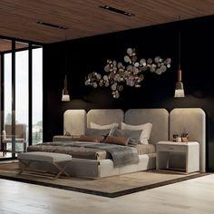 Luxury Italian Bed With Wide Nubuck Leather Headboard - Home Design Inspiration Modern Luxury Bedroom, Luxury Bedroom Design, Modern Master Bedroom, Master Bedroom Design, Luxurious Bedrooms, Contemporary Bedroom, Luxury Rooms, Master Bedrooms, Bedroom Designs