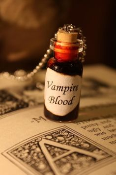 Glass Vial Necklace - Vampire Blood - Halloween Jewelry