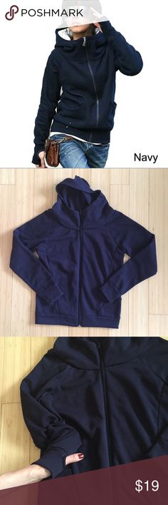 Navy Zip Up Hoodie First picture is for references only ! Zip up hooded sweater. Very good condition with no rips, tears, stains or discoloration Tops Sweatshirts & Hoodies