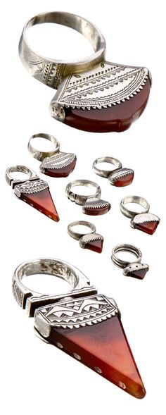 Africa | Rings from the Tuareg people of Mali | Silver and carnelian | 20th century | 150£ each
