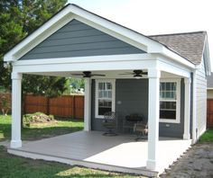 I would like this type of covered porch off the front of my house, ceiling fans included.