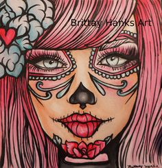 Day of the Dead Print 12 by 12 Pinky Sugar by Pajamasquid