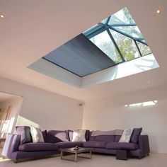 House Roof Design, Flat Roof House, Unique House Design, Living Room Wall Units, Open Plan Kitchen Living Room, Living Room Goals, Industrial Bedroom Design, Skylight Design, House Extension Plans