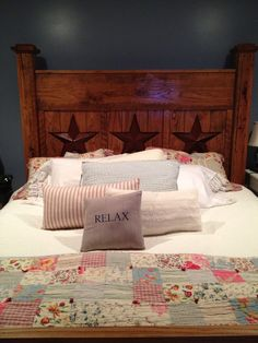 My handmade bed by my stepdad! Beautiful centerpiece in our master suite Bed Ideas, Master Suite, Wood Projects, Beds, Centerpieces, Handmade, Furniture, Beautiful, Home Decor