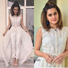 Rate the Look 👉 🔟 Taapsee Pannu for her movie promotions ❤❤❤ . Indian Gowns, Indian Attire, Indian Wear, Indian Designer Outfits, Designer Dresses, Indian Outfits Modern, Stylish Dresses, Fashion Dresses, Lehnga Dress