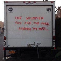 """Banksy in NYC Day Alternative Bumper Sticker """"The Grumpier You Are The More Assholes You Meet"""" - Untapped New York Banksy New York, Banksy Paintings, Street Art News, Street Artists, New York Post, Pixel, Love People, Bumper Stickers, New York City"""