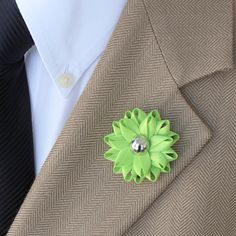 Mens Suit Accessories Lapel Flower for Men Lime Green Flower Lapel Pins Custom Lapel Pin Mens Lapel Pin Gift for Him Gift for Men