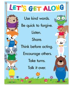 The charming woodland friends and simple ideas on this chart will help students remember how to work together and get along. This chart is perfect to use as a visual reference in a classroom, hallway, cafeteria, or any other school space. Learning how to get along is an important lesson for students in building a cohesive, caring, inclusive classroom environment.