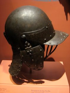 """1630-1640 Dutch Siege helmet at the Royal Ontario Museum, Toronto - From the curators' comments: """"Although similar in appearance to a cuirassier helmet, this burgonet is of such heavy construction that it was probably intended for use in siege warfare - by sappers or engineers. The shape is based on Near Eastern or Turkish helmet designs."""""""