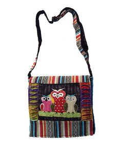 Another great find on #zulily! Black & Red Owl Messenger Bag #zulilyfinds