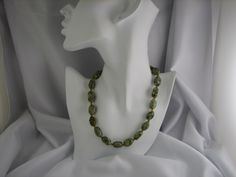 Handmade unakite necklace and Swarovski crystals and 14kgf clasp