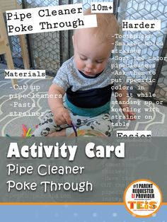 Activity Card: Pipe Cleaner Poke Through activity for your little ones 10+m