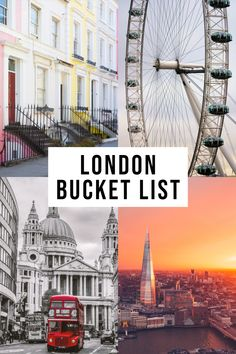 The BEST London Bucket List! : ALL the top places to visit while in London Europe Travel Tips, Travel Usa, Travel Destinations, Luxury Travel, Backpacking Europe, Cool Places To Visit, Places To Travel, London Attractions, London Restaurants