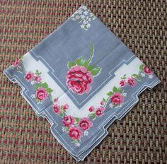 Vintage Floral Gray Cotton Handkerchief by AlternatingPatterns