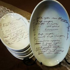 Custom plate with your grandmothers handwritten recipe - perfect holiday gift on Etsy, $45.00