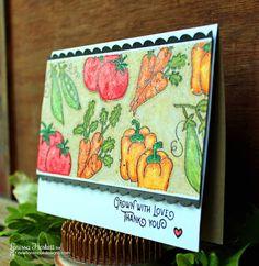 Grown with Love Vegetable Card by Larissa Heskett | Vegetable Garden stamp set by Newton's Nook Designs #newtonsnook