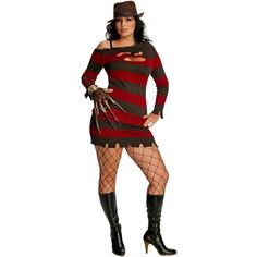 A Nightmare On Elm Street - Miss Krueger Adult Plus Costume ($51) ❤ liked on Polyvore featuring costumes, halloween costumes, sexy costumes, adult heart costume, sexy adult halloween costumes, slash costume and red costumes