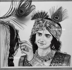 Radha Krishna Sketch, Krishna Drawing, Krishna Painting, Krishna Art, Lord Krishna, Girl Drawing Sketches, Girly Drawings, Art Drawings Sketches Simple, Drawing Ideas