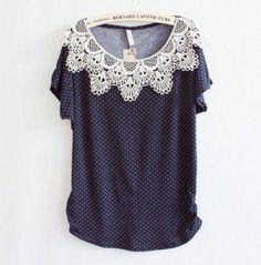 Blusa pineaple crochê azul marinho