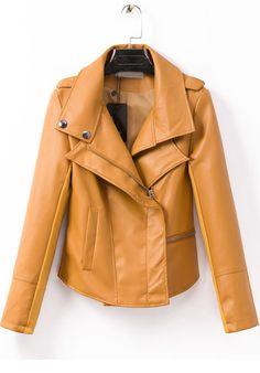 Yellow Lapel Long Sleeve Crop PU Jacket 32.67