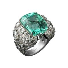 High Jewelry ring Platinum, one 22.9-carat cushion-shaped emerald, onyx, brilliants.
