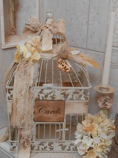 Birdcage Wedding Card Holder / Wedding Birdcage by YesMoreFunk