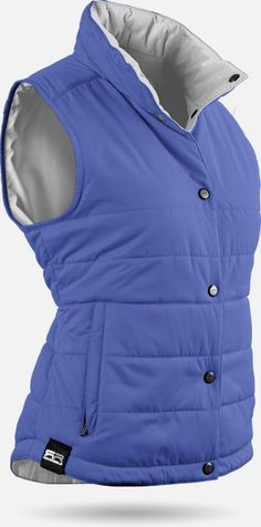 Find the best outerwear at #lorisgolfshoppe : Blue / Titanium Sun Mountain Ladies & Plus Size Alpine Reversible Golf Vest