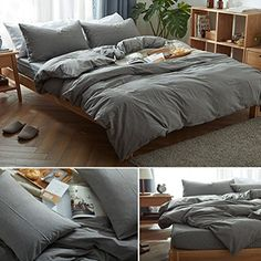 MooMee Home Collection Washed Cotton 3 Pieces Solid Duvet Cover Set, Includes 1 Comforter Cover 2 Pillow Shams Dark Grey Queen Size Searching for bedroom furniture pictures...  http://aluxurybed.com/product/moomee-home-collection-washed-cotton-3-pieces-solid-duvet-cover-set-includes-1-comforter-cover-2-pillow-shams-dark-grey-queen-size/