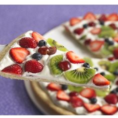 Fruit pizza! but spike the frosting and use mascapone cheese for less fat! viola!