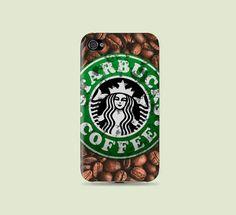 Coffee bean & Dirty Grunge Starbucks Plastic Hard by CatCheeseCase, $16.99