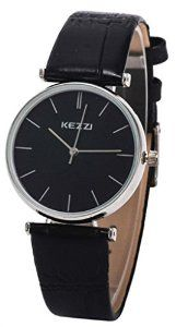 Kezzi Women's Ladies Watches K735 Quartz Analog Leather Wrist Watch Fashion Casual Waterproof Black