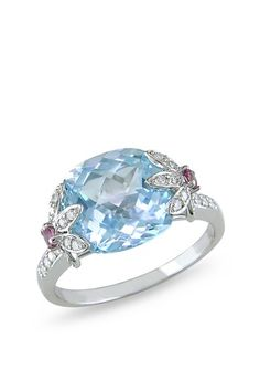 10K White Gold Sky Blue Topaz, Pink Tourmaline & Diamond Ring