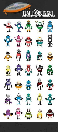 Flat robot vector pack, more than 1000 possible combinations and 11 different colors