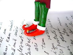 Christmas gift. The Grinch bookmark. The Grinch shoes bookmark. Funny gift. Elf shoes. Inspired by movie How the Grinch stole Christmas.