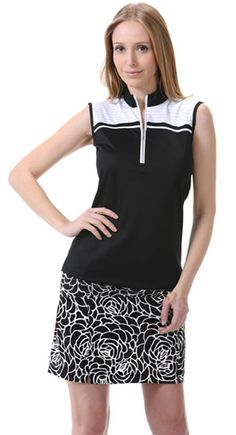 Monterey Club Ladies & Plus Size Golf Outfits (Shirt & Pull On Skort) - Champagne Chic (Black/White