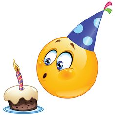 Illustration about Birthday emoticon blowing cake candle. Illustration of emoji, button, child - 31709842
