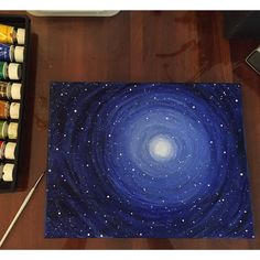 Starry night sky painting with acrylics