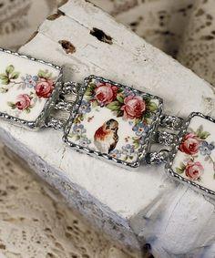 Sweet Robin and Roses Vintage Broken China Bracelet