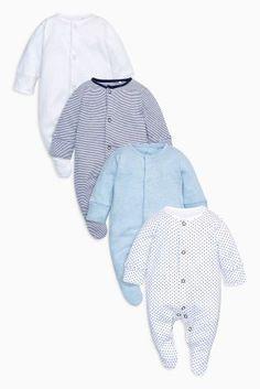 Confezione da quattro tutine blu (0 mesi - 2 anni)