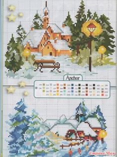 Snow Covered Houses and Church Cross Stitch Pattern Cross Stitch House, Xmas Cross Stitch, Cross Stitch Cards, Cross Stitching, Cross Stitch Embroidery, Cross Stitch Designs, Cross Stitch Patterns, Cross Stitch Landscape, Theme Noel