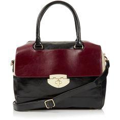 TOPSHOP Clean Colour Block Bag (4.975 RUB) ❤ liked on Polyvore featuring bags, handbags, black, purses, red, bowler purse, topshop bags, bowling bags, color block purse and bowler handbag