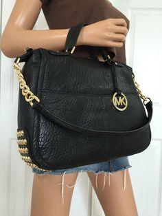 NWT Michael Kors Large Studded Satchel Tote Shoulder Handbag Bag Black Gold #MichaelKors #TotesShoppers