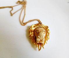 Vintage signed lion head zodiac pendent Necklace by houuseofwren, $28.00