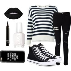 Untitled #55 by tenuunl on Polyvore featuring Yves Saint Laurent, Miss Selfridge, Converse, Casetify, Lime Crime and Essie