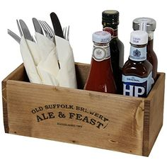 restaurant decor Condiment and cutlery holders in the theme of rustic diner - we could have the same ones in the bar and cafe. Decoration Restaurant, Deco Restaurant, Restaurant Tables, Rustic Restaurant Design, Pizzeria Design, Restaurant Ideas, Condiment Holder, Cutlery Holder, Cutlery Storage