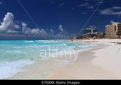 Beach scene at Cancun, Hotel Zone,  Mexico Stock Photo