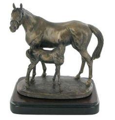 Mare & Foal Cold Cast Bronze Sculpture by David Geenty